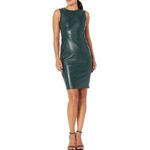 Calvin Klein Faux Leather Sheath Dress Size 14